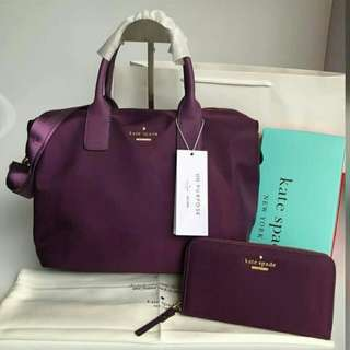 FREESHIP Kate Spade Lyla Bag and WALLET SET satchel handbag crossbody sling-purple