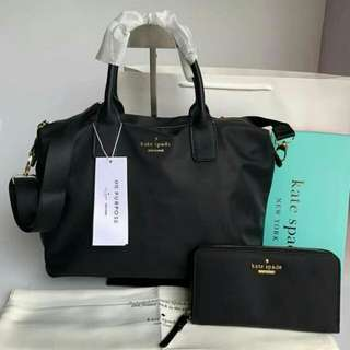 FREESHIP Kate Spade Lyla Bag and WALLET SET satchel handbag crossbody sling- black