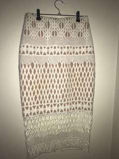 White and nude Bardot skirt