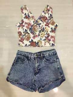 FLORAL SET! Floral Crop Top + denim shorts