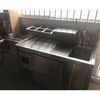 Stainless Steel table with sink and ice bin