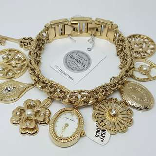 FREE SHIP Original Anne Klein Swarovski Accented Charm Bracelet Womens Watch Gold Tone 10-8096CHRM