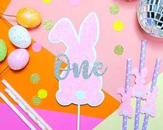 Glitter Bunny Cake Topper