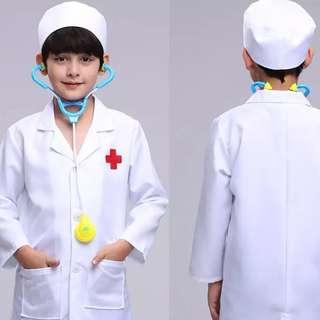 Girls Boys Doctor Lab Coat Hat Stethoscope Accessories
