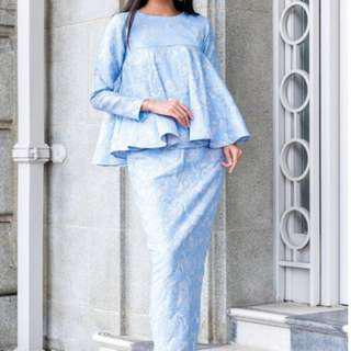 INLOVEBYTNS Babydoll Kurung in Periwinkle Blue Brocade (Hari Raya)