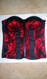 Moving Sale Hot Red & Black Bustier with Gstring by Shirley of Hollywood