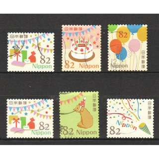 JAPAN 2017 HAPPY GREETINGS CELEBRATION DESIGNS 82 YEN COMP. SET OF 6 STAMPS IN FINE USED CONDITION