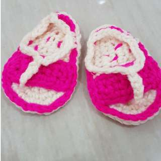 1 pair Crochet Booties - Sandals Style