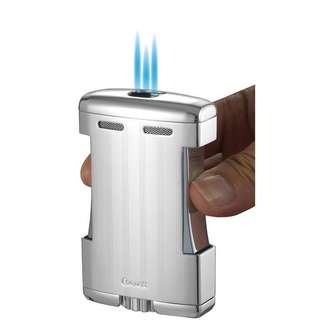Caseti Sparta Triple Torch Flame Cigar Table Lighter - Chrome Lines