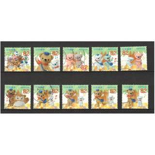 JAPAN 2017 TEDDY BEAR (POSKUMA) GREETINGS 82 YEN COMP. SET OF 10 STAMPS IN FINE USED CONDITION