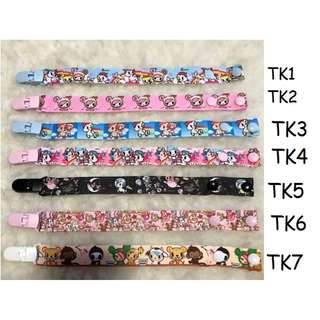 🚚 HANDMADE WITH LOVE BRAND NEW Pacifier Clip tokidoki 7 designs to choose, option to add name, personalise it, customise