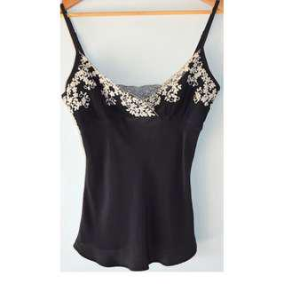 FLEUR WOOD VINTAGE STYLE BLACK SILK EMBROIDERED CAMI TOP *NEW* 1 8
