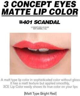 3CE matte lipstick #401