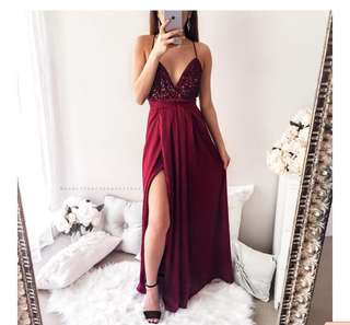 Power of Love Maxi Dress Honey Peaches- Maroon