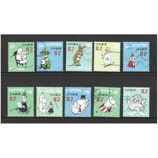 JAPAN 2018 MOOMIN (CARTOON) 82 YEN COMP. SET OF 10 STAMPS IN FINE USED CONDITION