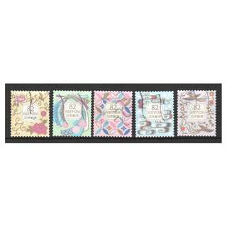 JAPAN 2018 TRADITIONAL DESIGN SERIES 4 (ALL MOTIFS) 82 YEN COMP. SET OF 5 STAMPS IN FINE USED CONDITION