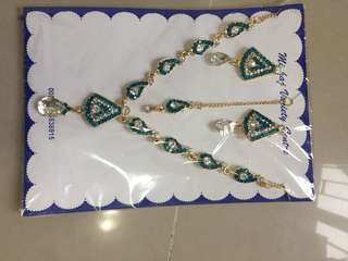 Blue green Necklace with tikka