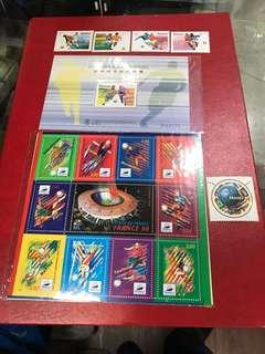 法國、澳門,98年世界杯,郵票、型張,4套共售:70元。