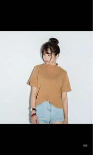 brown mock neck top