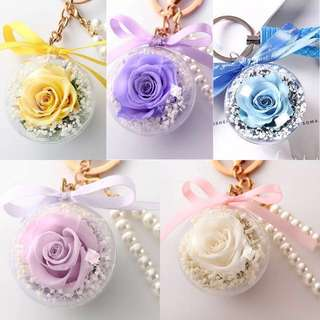 Key chain real flower dry deco