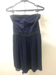 Mango navy blue tube dress