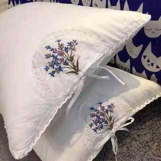 Handmade Lavender embroidery pillow + cover(2 pcs)