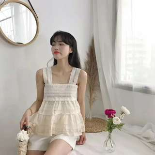 INSTOCKS Crochet lace eyelet tier layered thick spaghetti strap straight cut top (BEIGE)