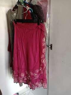 burgundy flowy skirt