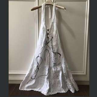 全新Angel麻質露背白色洋裝