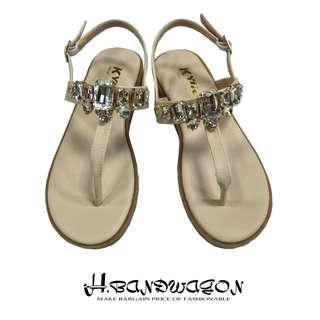 【H.BANDWAGON】華麗立體寶石T字夾腳平底涼鞋