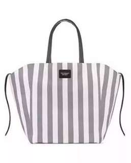 Victoria's Secret Gray & White Striped Canvas Tote Bag 2018 Limited