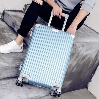 Portrait Stripe Luggage Rolling Luggage Spinner Travel Suitcase With Protect Cover 20Inch