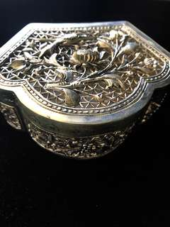 1950's-1960's (Mid) Old Straits Settlements Malayan Chinese Peranakan Pure Vintage Silver Very Beautiful and Exquisite Large Antique Box.