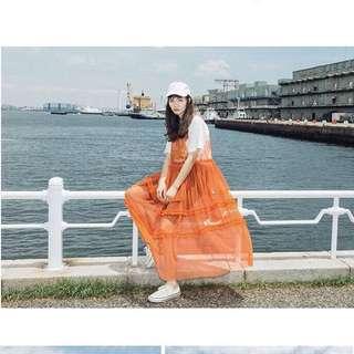 🚚 橘色紗罩衫