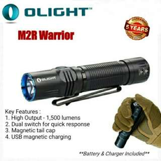 (1,500 Lumens) Olight M2R Warrior LED Tactical Flaslight - USB Rechar