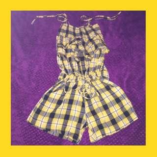 Black & Yellow Checkered Romper