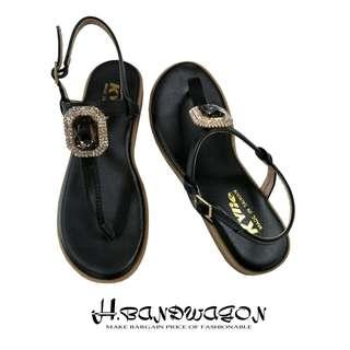 【H.BANDWAGON】宮廷風立體方鑽寶石T字夾腳平底涼鞋