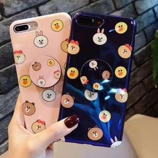 手機殼IPhone6/7/8/plus/X : Linefriends小熊黃鴨配氣囊支架藍光全包黑邊軟殼