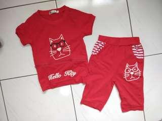 幼兒短袖套裝紅色,二手