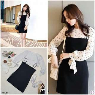 Overall skirt and polkadot blouse; f@