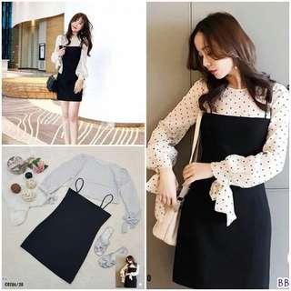 Overall skirt and polkadot blouse; f@