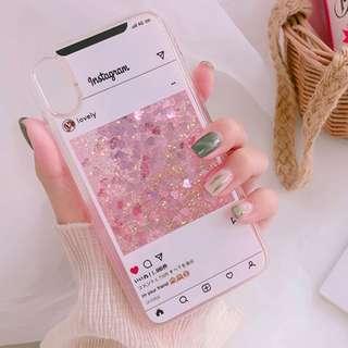#手機殼IPhone6/7/8/plus/X : IG對話框流沙閃粉全包邊軟殼