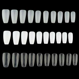 Mixed coffin/ballerina fake nails