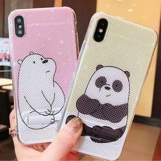 ^手機殼IPhone6/7/8/plus/X : WeBearBares裸熊內配支架全包邊透氣散熱背板軟殼