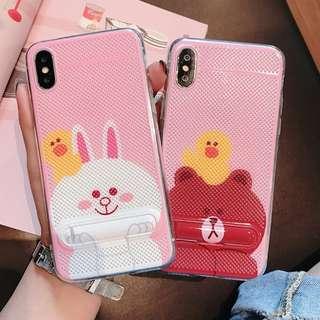 ^手機殼IPhone6/7/8/plus/X : Linefriends小熊小兔內配支架全包邊透氣散熱背板軟殼