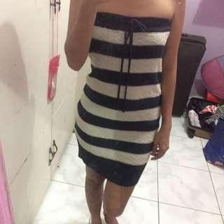 Knitted Stripe Tube Dress