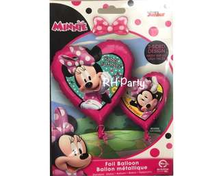 (13/6) Include helium Minnie Mouse Happy Birthday Heart Foil Balloon ( 2 sided dual design )