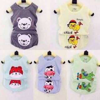 [Restock] Cotton cartoon clothes set sleeveless for babies/kids/ toddlers