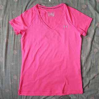 Neon Pink Fitted Heat Gear Under Armour Shirt