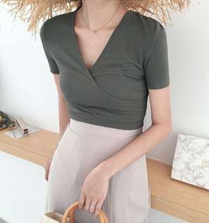 V Neck Top in Greenish Grey